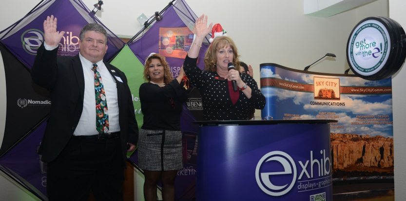 EXHIB-IT! CEO DJ Heckes at Jingle Mingle with Patrick Baldonado, from Sunrise Bank of Albuquerque, and Ranee Tafoya of the Albuquerque Hispano Chamber of Commerce