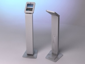 Two Silver iPad Kiosks, exhibitor trade show marketing