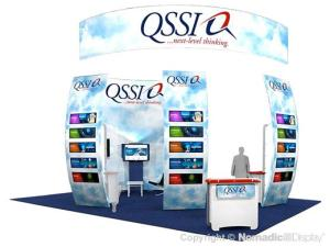 light blue trade show exhibit