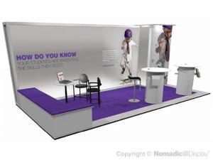 purple trade show exhibit