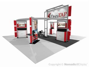 red trade show exhibit