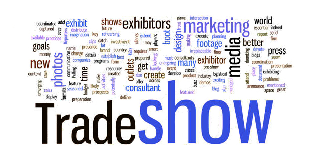 Trade Show text graphic with trade show keywords