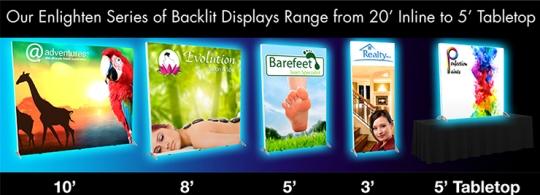 Enlighten, Series, Backlit, Displays, 20', Inline, 5', Tabletop, trade show, EXHIB-IT!