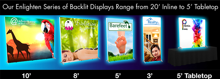 Enlighten, Series, Backlit, Displays, 20', Inline, 5', Tabletop, trade show, EXHIB-IT!