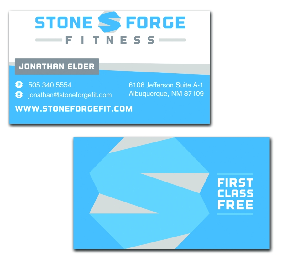 Stone Forge, Fitness, Double Sided, Business Card, EXHIB-IT!, graphic design, marketing, logo, branding
