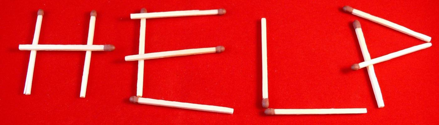 help spelled in matchsticks