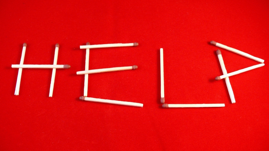 help spelled in matchsticks