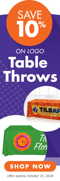 Save 10 percent on logo imprinted table throws