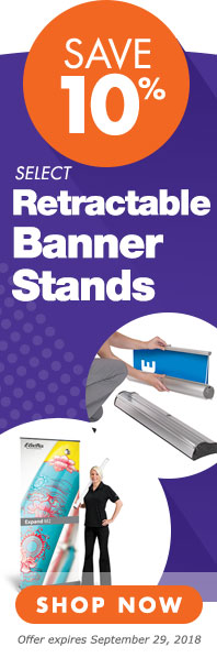 Save 10 percent on select retractable banner stands