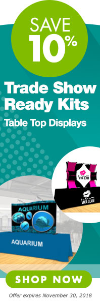 Save 10 percent on trade show ready table top display kits